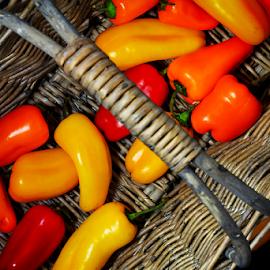 by Dipali S - Food & Drink Fruits & Vegetables ( orange, peppers, red, food, basket, vegetables )