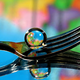 by Dipali S - Artistic Objects Cups, Plates & Utensils ( abstract, fork, reflection, artistic, spoon, spheres )