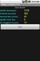 Screenshot of Milling Calculator