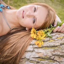 Hannah by Erin Richard - People Portraits of Women ( fashion, model, teen, green, beautiful, plants, drama, young, eyes, portait, girl, sweet, tree, nature, woman, teenager, dramatic, lady, flowers, stunning,  )