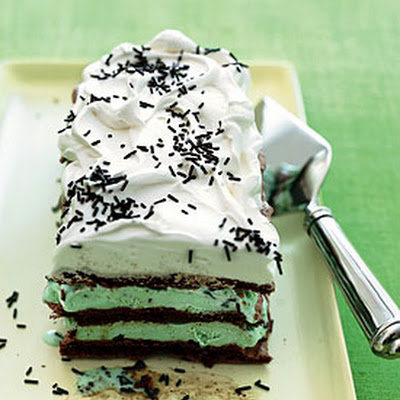 Chocolate Meringue and Mint Chip Ice Cream Cake