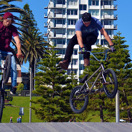 Stunt Cycling at St KIlda's Beach by Alan Chew - Sports & Fitness Cycling ( , Bicycle, Sport, Transportation, Cycle, Bike, ResourceMagazine, Outdoors, Exercise, Two Wheels )