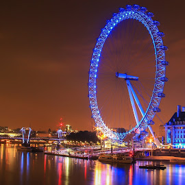 The Big Wheel by Nachau Kirwan - City,  Street & Park  Night ( colour, london eye, night photography, neon, night shot, nightscape )