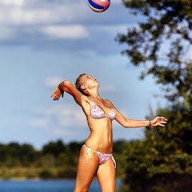 Beach volleyball by Stephan Roller - Sports & Fitness Other Sports ( ball, fitness, woman, sport, beach, athlete )