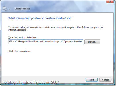 Create Shortcut wizard