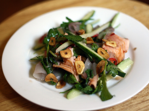 Seared Salmon Salad with Roasted Shallot and Chile Dressing