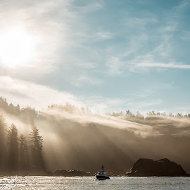 Chosen Fishing Boat by Stephen Bridger - Landscapes Travel ( canada, pacific ocean, sea, ocean, forest, fishing boat, port renfrew, fog, outdoors, vancouver island, fishing, pacific northwest, light, mist, british columbia )