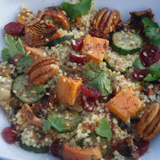 Saffron Couscous with Roast Autumn Vegetables, Pecans, Cranberries and Figs