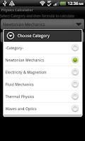 Screenshot of Physics Calculator