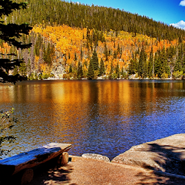 Bear Lake by Terry Ricks - Landscapes Waterscapes ( water, bear lake, fall colors, rocky mountains, colorado, lake, rocky mountain national park, landscape, autumn, fall, trees, autumn colors, rocks )