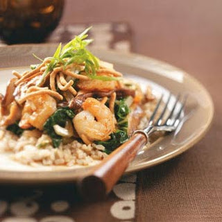 Shrimp & Shiitake Stir-Fry with Crispy Noodles