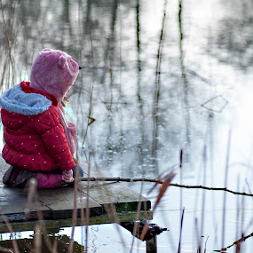 First try at fishing by Ruth Holt - Babies & Children Children Candids ( child, stick, watch, fish, lake, pond,  )