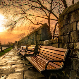 York Wall by Mark Hall - City,  Street & Park  Historic Districts ( landscape sunset )