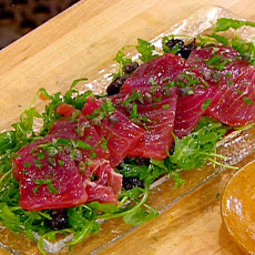 Tuna Carpaccio with Capers, Olives, Lemon Zest, Arugula and Olive Oil