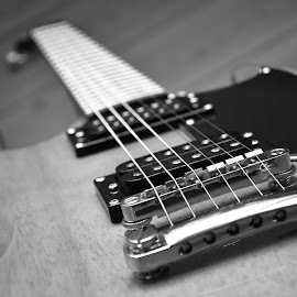 Black and White Cherry by Dejan Stefanac - Artistic Objects Musical Instruments ( music, blackandwhite, musical instrument, musical, black and white, guitarist, guitar )