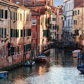 Venice Canal by Bonnie Rovere - Buildings & Architecture Bridges & Suspended Structures ( water, boats, buildings, venice, canal )