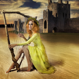 The Harpist by Marie Otero - Digital Art People ( harp, music, sand, model, female, sunset, digital art, altered reality, castle, landscape, digital )