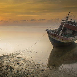 Old Boats by Surya Yama - Transportation Boats ( boats, sunrise, transportation, landscapes, alone )
