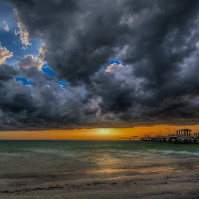 Storm at Sundown by Bill Camarota - Landscapes Weather ( stormy, clouds, sky, sunset, florida, sundown, pier, gulf of mexico, storm, formation )