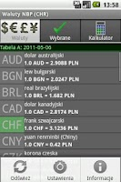 Screenshot of NBP Exchange Rates (CHR)