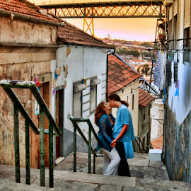 Romance is in the air by Antonio Amen - People Couples ( houses, stairs, woman, bridge, romance, man )