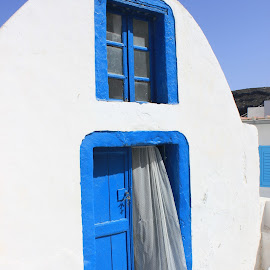 Greece home by Neža Kompare - Buildings & Architecture Architectural Detail ( home, typical, white and blue, greece, door,  )