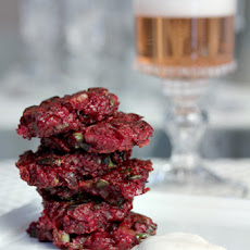 Roasted Beet Latkes with Scallion and Cayenne Crème Fraîche