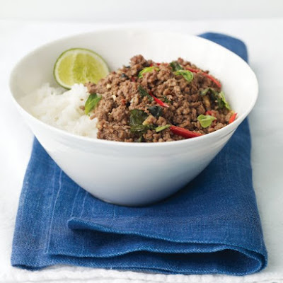 Thai Beef with Chiles and Basil Over Coconut Rice