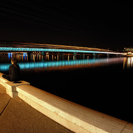 Alone With Your Thoughts by Mike Boening - People Street & Candids ( water, lights, az, tempe, olympus omd em1, long exposure, bridge, mill avenue bridge )