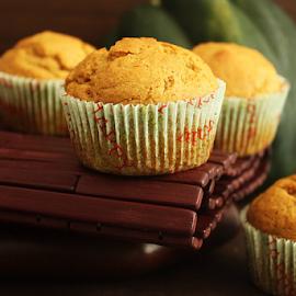 Pumpkin Muffins by Vrinda Mahesh - Food & Drink Cooking & Baking ( desserts, muffins, pumpkin, food, fall, moody, pumpkin muffins, baking )
