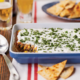 Party Bean Dip with Baked Tortilla Chips