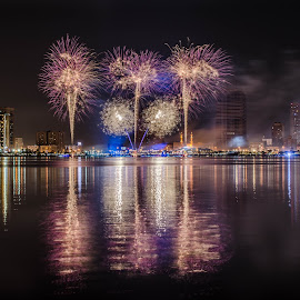 Fire works in Sharjah by S.m. Haque - Buildings & Architecture Other Exteriors ( cityscapes, fireworks, long exposure, cityscape, sharjah, nightscape )