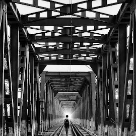 Walking Into Dead Lane by Nimit Nigam - Transportation Railway Tracks ( photos, d3000, black and white, street, nimit, agra, india, nikon, photography )