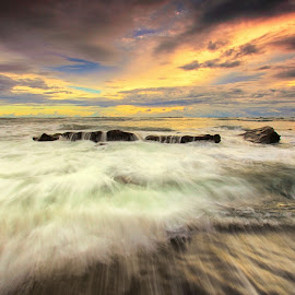 Mengening in Action by Sunan Tara - Landscapes Waterscapes ( bali, badung, waterscape, waves, sunset, rock, beach, seascape, mengening, motion, landscape )