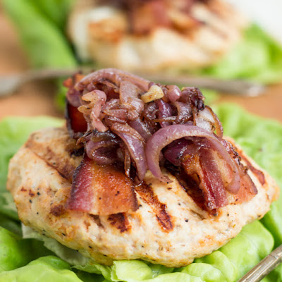 Goat Cheese Stuffed Turkey Burgers with Bacon & Caramelized Onions