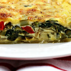 Three-Cheese Spinach and Bell Pepper Quiche/Pie