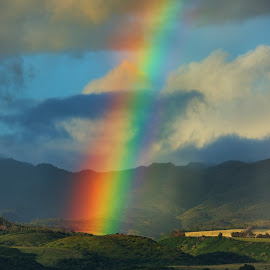 Color on the Land by James Bokovoy - Landscapes Mountains & Hills ( kauai, mountains, beach, rainbow, rain, hawaii )