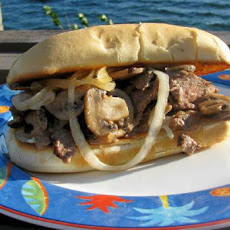 Leftover Steak Sandwich With Onions and Mushrooms
