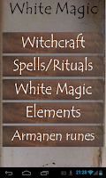 Screenshot of White Magic spells and rituals