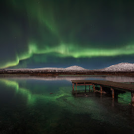 Northern lights by Jón Hauksson - Landscapes Travel ( mountains, iceland, northern lights, night, lake,  )