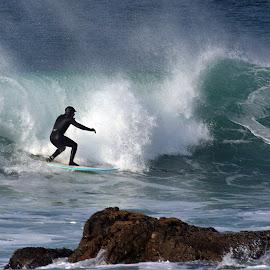 In the Rocks by Ken Miller - Sports & Fitness Surfing ( water, water sports, california, wave, ocean, surf, rocks,  )