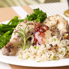 Rosemary-Scented Cornish Hens with Red Wine Reduction