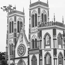 Historic Church in Puducherry  by Navid Cool - Buildings & Architecture Places of Worship ( canon, morning, worship, light, historic )