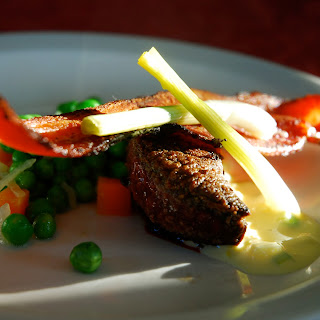 Lambs Liver with Pickled Spring Onions, Speck with Peas & Carrots