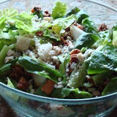 Pear and Roquefort salad with poppy seed dressing