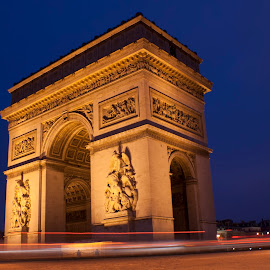 Arc De Triomphe by Werner Jordaan - Buildings & Architecture Statues & Monuments ( paris, paris at night, arch, arc de triomphe, long exposure, paris lights )