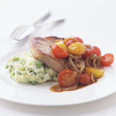 Pork Chops with Golden Onions and Wilted Tomatoes