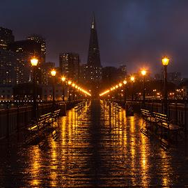 I Left My Heart... by Matt Shell - City,  Street & Park  Skylines ( pyramid, pier, night, sf, san francisco, rain )