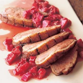 Seared Five-Spice Duck Breasts with Rhubarb Compote