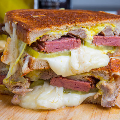 Corned Beef Cuban Grilled Cheese Sandwich